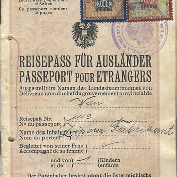 1924 Austrian Stateless passport
