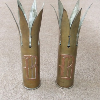 WW1 USN Trench Art Vases - Military and Wartime