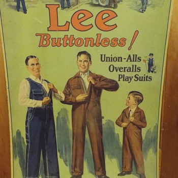 Lee Work Clothes Advertising Cardboard Sign - Advertising