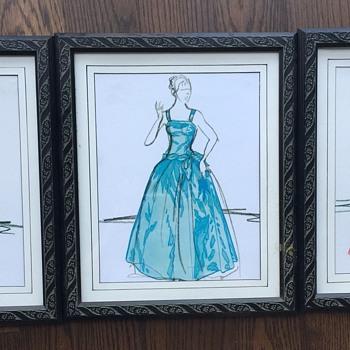 Set of 3 Framed Vintage Women's Formal/Ball Gown Design Drawings - Fine Art