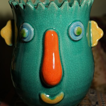 Yard Sale Find - Crazy Face Planter - Pottery