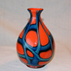 "Kralik Orange and Blue/Aqua Green ball vase 8"" tall"