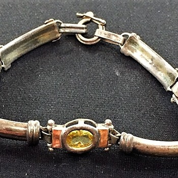 A sterling silver, stone and 18kt gold link bracelet, estate auction item. - Fine Jewelry