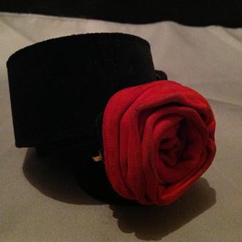 Neiman Marcus Vintage Belt Black with Red Rose