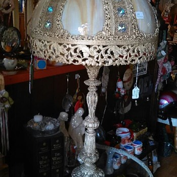 Victorian-style, one of a kind antique full glass table lamp