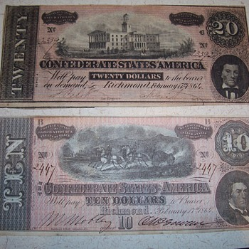 1864 confederate 10 & 20 dollar bills - US Paper Money
