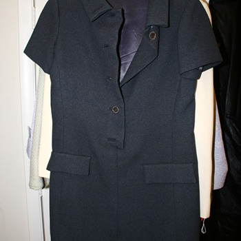 Possible Vintage Grey Dress Silver Robe like round buttons and satin lining inside