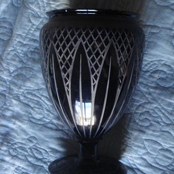 Basalt glass art deco vase signed Celta for Scailmont
