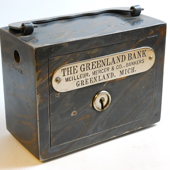 "Promotional Advertising Steel Bank""The Greenland Bank, Greenland, Michigan, Circa 1900 - Coin Operated"