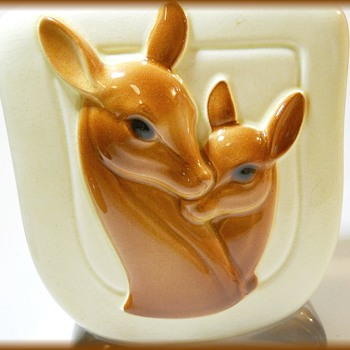 1940's Royal Copley Art Deco Deer Vase Planter ( Doe and Fawn ) - Pottery