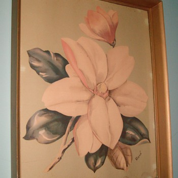 Magnolia blossom watercolor - Posters and Prints