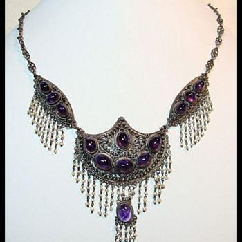 Antique Festoon Amethyst Necklace