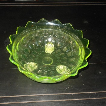 Vaseline Glass Three Footed Bowl - Glassware