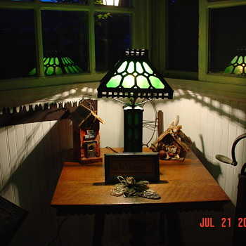 Green Slag Glass Lamp...Arts and Craft Era