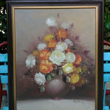 Paintig of Roses with Vase - Unknown Signature - Fine Art