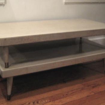 mid-century light blond oak coffee table - would love info!