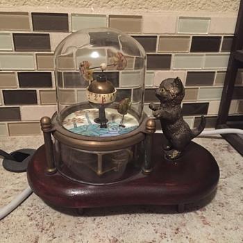 Cat fish in glass dome clock  - Clocks