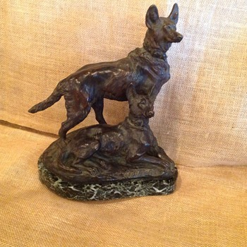 T. Cartier Bronze Wolfhound Sculpture - Fine Art