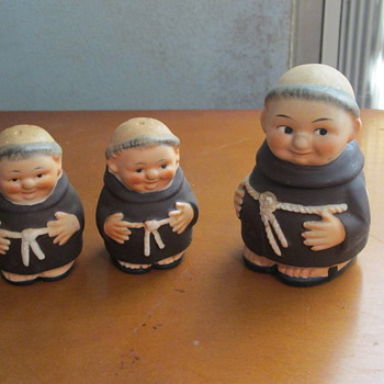 Monk Salt and Pepper shakers, Sugar Container with spoon
