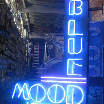 Vintage 1970's BLUE MOOD LOUNGE Antique Neon Sign / Large Double Sided - Signs