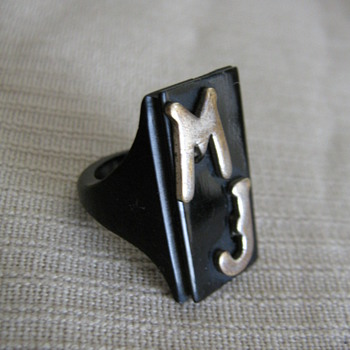 Bakelite  initial MJ ring & Marian pin - Costume Jewelry