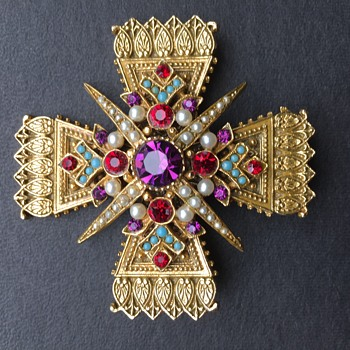 Ornate signed Art Cross Brooch -Renaissance Revival - Costume Jewelry