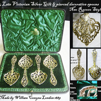 Four Victorian Silver Gilt Sugar Sifter Spoons Boxed by William Comyns 1889  - Victorian Era