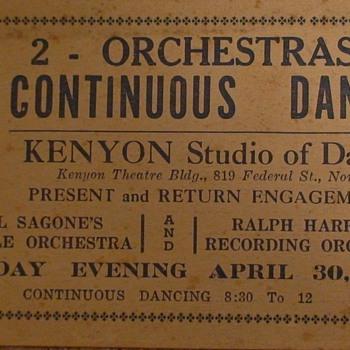 Kenyon Studio Of Dancing Dance Card April 30, 1925 - Music Memorabilia