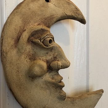 "Half moon unglazed ceramic ""wall ornament"" - Pottery"