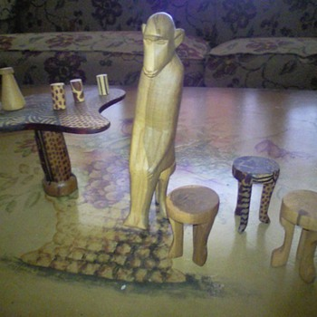 African?  Table, Chairs, Cups, Monkey  - Folk Art