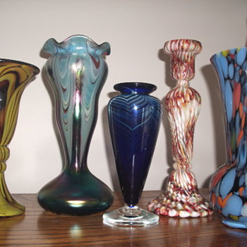 Recent Bohemian Glass finds and a Robert Held Cobalt Blue Pulled Feather Vase - Art Glass
