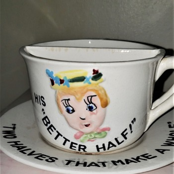 His and Her Better Half Coffee Cups and Saucer - China and Dinnerware