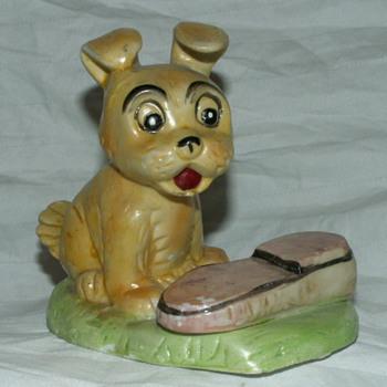 Vintage Jack Russell Terrier W/ Shoe Porcelain Figurine - Animals