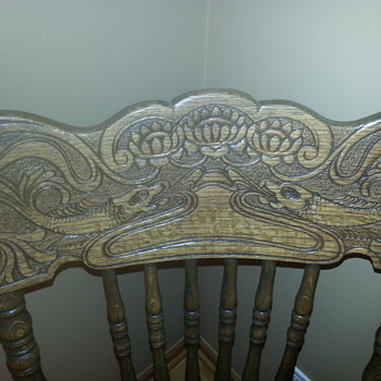 wooden chairs with carved fish on back rest - Furniture