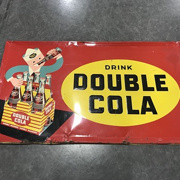 Rare  1952 double Cola sign it's about 3 ft long  - Signs