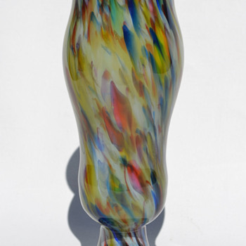 Czechoslovakian spatter and powder decor vase - Art Glass
