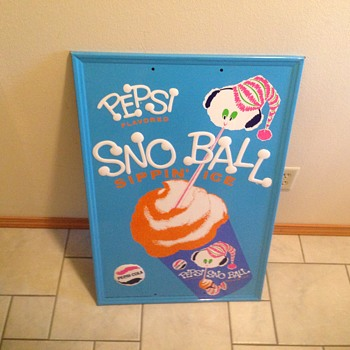 Rare Pepsi sno ball sign 1967  - Advertising