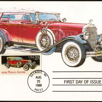 "1988 - ""1929 Pierce-Arrow"" - First Day Issue Stamped Card - Stamps"