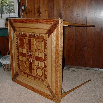 Inlaid Wood Game Table - Furniture