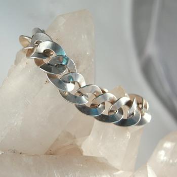 Austro-Hungarian ca 1872-1922 silver curb link bracelet - Victorian Era