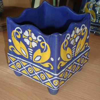 Unusual square enamel decorated ceramic vase Swedish?  - Art Nouveau
