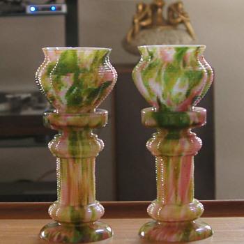 Franz Welz Pink & Green Aventurine Ribbed Pedestal & Jardinaire Pair - Art Glass