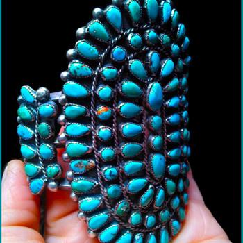 Vintage 1940-1950's era Zuni Petit Point Cuff Bracelet - Fine Jewelry