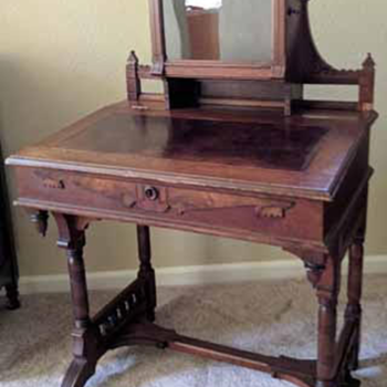 Totally unique Davenport Ladies writing desk with lighted curio cabinet - Furniture
