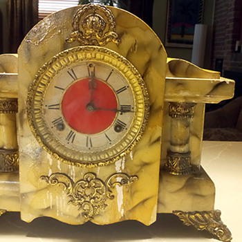 "1900 Waterbury Faux Marble ""Duarte"" Mantel Clock, 1900 -06 - Clocks"