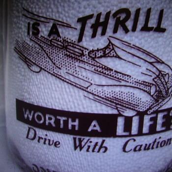 "Wilson's Mello ""D"" Milk Quart Milk Bottle With Safe Driving Slogan #2 - Bottles"