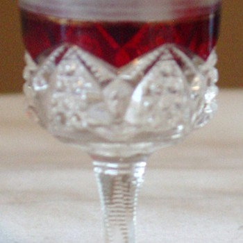 """Ruby stained, etched """"Mother"""" Cut glass Dated 1905  - Glassware"""