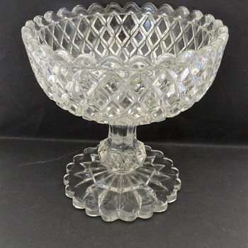 Pressed Glass Compot - Diamond Pattern - Glassware