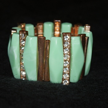 Vintage Thermoset Plastic and Rhinestone Stretch Bracelet - Costume Jewelry
