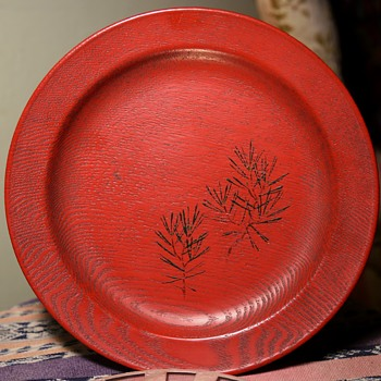 Red Laquered Plate - Asian